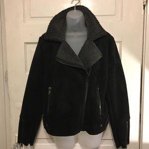 Vigoss L Black Faux Suede & Shearling MOTO Jacket
